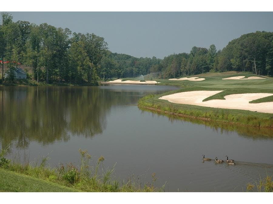 The Spring Creek golf course unfolds over peaceful rolling hills and woods beneath the mountains of Charlottesville.